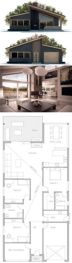 House Plan, Home Plan, Floor Plan, Architecture Narrow House Plans, New House Plans, Modern House Plans, Modern House Design, Model Architecture, Architecture Design Concept, Bungalow Floor Plans, House Floor Plans, House Construction Plan