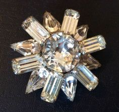 KRAMER OF NEW YORK Vintage BROOCH Clear Baguette Rhinestone Pin Fashion Jewelry #Kramer