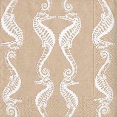 Caspari Seahorses Natural Printed 3-Ply Paper Luncheon Napkins Wholesale 11891L