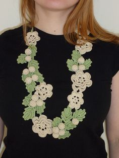Crocheted Flower Necklace / Fashion Accessory. £75.00, via Etsy.