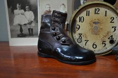 ✿ bluefolkhome on etsy ✿  Antique Shoe Child's Leather Fine Dress Shoe Buttoned Boot