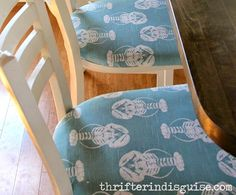 Awesome Nautical Lobster Fabric Bar Stools: http://www.completely-coastal.com/2016/05/Beachy-kitchen-makeover-nautical-bar-stools.html How to reupholster bar stool seats!