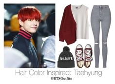 """Hair Color Inspired: Taehyung"" by btsoutfits ❤ liked on Polyvore featuring Topshop and Converse"