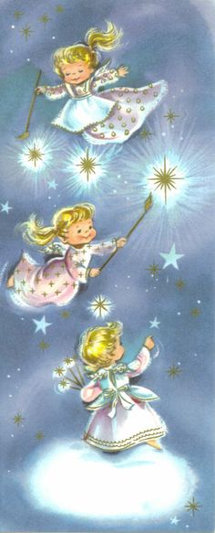 Old Christmas Post Сards — Vintage 'Three Angels Painting Stars', 1967 Gold… Christmas Post, Christmas Scenes, Retro Christmas, Christmas Angels, Vintage Greeting Cards, Christmas Greeting Cards, Christmas Greetings, Vintage Postcards, Vintage Christmas Images