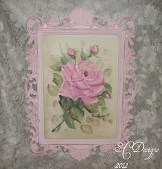 Shabby cottage hand painted roses on vintage mirror.
