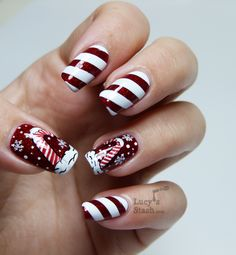Candy Cane Holiday Nails | #christmasnails #nailart #christmasnailart #xmasnails