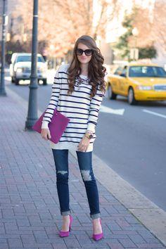 stripes with a pop of fuchsia