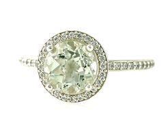 14K Green Amethyst Ring Diamond Halo Ring White Yellow or Rose Gold Custom Bridal Jewelry. $826.00, via Etsy.