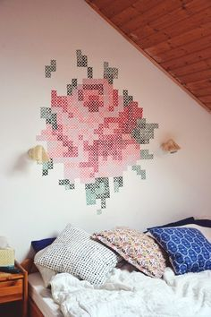 Cross Stitch Painted Wall. lovely.