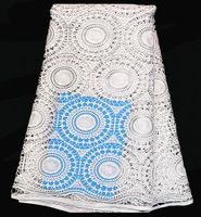 (5yards/lot) SLF50-1, High Quality african100% Cotton Cord French guipure lace fabric pure white color!!wedding dress