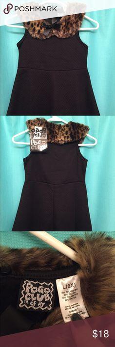 Girls Black Dress with Fur Collar Pogo Club, Brand new with tags on.  Cute dress with a fur collar.  Size L 6X  Retails for $40 Dresses Formal