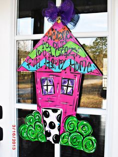 Custom order HOUSE  Wood Cut Out Door Hanger by TheWaywardWhimsy, $35.00