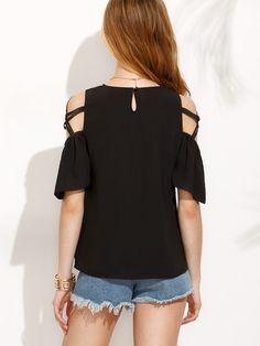 Blusa hombros con tiras cruzadas - negro-Spanish SheIn(Sheinside)