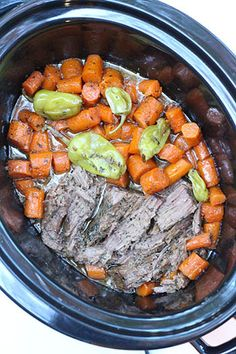 """Crockpot Mississippi Roast (4 Servings)   New Leaf Wellness 2lb boneless beef chuck shoulder roast 2lbs carrots, peeled and roughly chopped 1 stick butter 4-6 pepperoncini peppers, plus 2T juice from the jar 1 packet each au jus and ranch seasoning packs  Combine all ingredients in your slow cooker and cook on """"low"""" setting for 8 hours or until meat shreds easily with a fork. Shred meat and return to slow cooker to mix with juice. Serve with rice or corn muffins."""