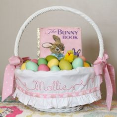 BUNNY Easter Basket Liner, Personalized Easter Basket Liner, fits SMALL Pottery Barn Kids Sabrina GIRL, Custom Personalized