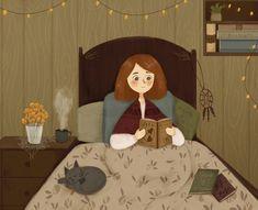 Staying in bed reading my favorite books 📚☕️✨ Art And Illustration, Landscape Illustration, Illustrator, Reading Art, Reading Time, Arte Sketchbook, Photo Chat, Grafik Design, Whimsical Art