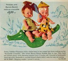 1966 Toy Ad Pebbles Bamm-Bamm Flintstone Rock Crocodile