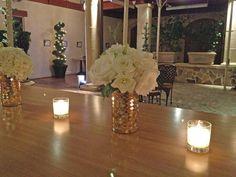 White flowers in gold mosaic vase. Jacuzzi Winery wedding reception.  Fleurs de France  www.fleursfrance.com