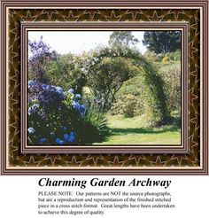 Charming Garden Archway, alluring landscapes counted cross stitch patterns, designs, charts, kits