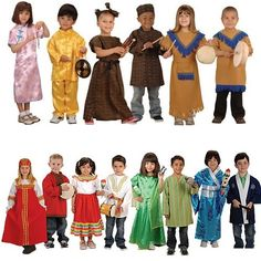 Set of 14 Costumes from Around the World Description: Child size versions of authentic ceremonial clothing from around the world. Machine washable with easy closures. Fits most children ages 3-6. Includes a Chinese boy and girl costume, an African boy and girl costume, a Native American boy and girl costume, Russian boy and girl costume, a Latino boy and girl costume, an Indian boy and girl costume, and a Japanese boy and girl costume. Price: $350.00