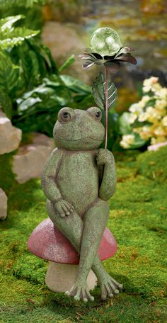 frog with holding a flower that has a glow in the dark ball Frog Statues, Garden Statues, Baby Animals, Cute Animals, Frog Art, Concrete Crafts, Cute Frogs, Frog And Toad, Garden Ornaments