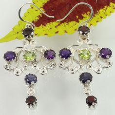 Real GARNET, PERIDOT, IOLITE & AMETHYST Gemstones 925 Sterling Silver Earrings #Unbranded #DropDangle