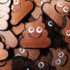 The happy poo patch.  Embroidered, with iron-on backing.  Only $4!  #poo #poop #turd #funny #emoji #emojipoo #poopoo #doodoo #kawaii #unchi #unko #patches #kaka #emoji