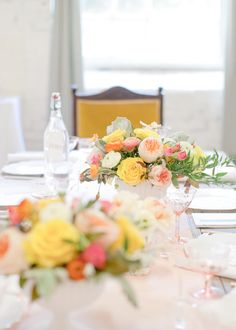 blush, yellow, orange and white arrangements from Blooms By The Box