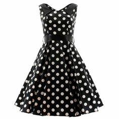 8ab2366c95 Satin Collar Dress Black+White Dot   Modern Grease Clothing   Accessories  Co. Black