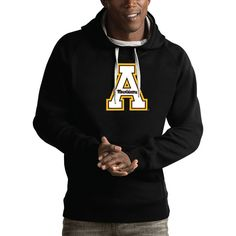 Appalachian State Mountaineers Antigua Victory Pullover Hoodie - Black