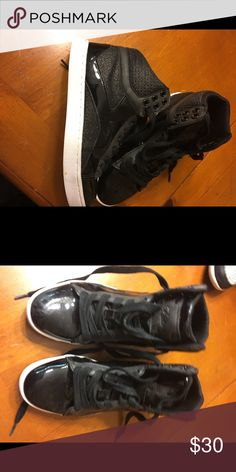High Tops Shiny black and in excellent condition! Almost new! Shoes Athletic Shoes