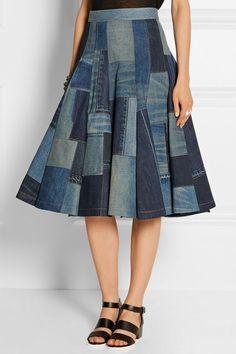 Junya Watanabe|Patchwork denim midi skirt|NET-A-PORTER.COM: