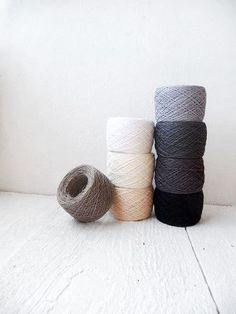 Linen Yarn collection in Black White and Grey by YarnStories, $32.00