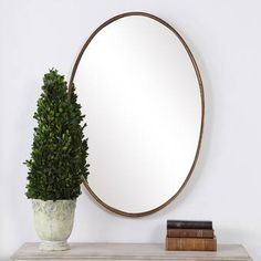 Polaris Large Framed Wall Mirror & Reviews | Joss & Main Circular Mirror, Round Wall Mirror, Wall Mounted Mirror, Round Mirrors, Large Oval Mirror, Wall Mirrors, Freestanding Mirrors, Mirrors Wayfair, Oval Frame