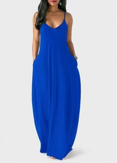 Royal Blue Open Back Maxi Dress on sale only US$29.69 now, buy cheap Royal Blue Open Back Maxi Dress at liligal.com