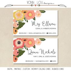 printable mommy calling cards - personalized floral cards - rifle style - business cards - simple - DIY - customized
