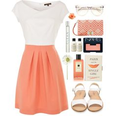 #coral #white #colorblock #sandals #glasses #Summer #casual #girly #feminine