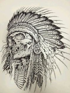 Indian Tattoo Design, Skull Tattoo Design, Tattoo Sleeve Designs, Tattoo Designs Men, Indian Headdress Tattoo, Indian Skull Tattoos, Skeleton Tattoos, Tribal Tattoos Native American, Native Tattoos