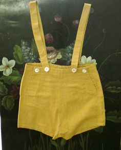 Pinocchio Pants Vintage Children's Overall Shorts Yellow