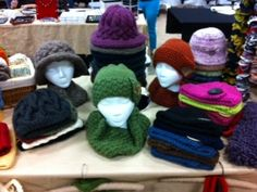 Here is a display of various hats we have made. This picture was taken at a craft show we participated in.