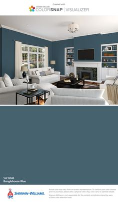 I found this color with ColorSnap® Visualizer for iPhone by Sherwin-Williams: Bunglehouse Blue (SW 0048).