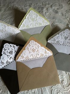 Envelope Liner Template Luxury Lace Lined Envelopes Paper Doily Envelope Liners Paper Doily Crafts, Doilies Crafts, Paper Doilies, Paper Lace, Envelope Design, Envelope Liners, Homemade Envelopes, Homemade Cards, Handmade Crafts