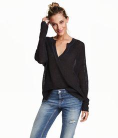 V neck linen-blend sweater. | Warm in H&M