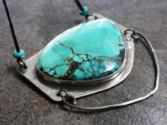 Turquoise Statement Necklace Abstract Fine Silver by Serrelynda