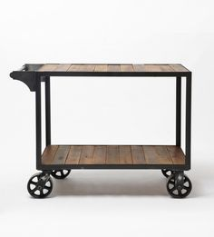 Industrial Bar Cart made from reclaimed wood - Brackish - A responsive Shopify theme