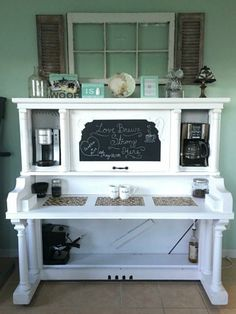 repurposed piano coffee bar