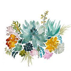Jardin de plante grasse - fine art imprimé, giclée de beaux-arts, peinture aquarelle, illustration aquarelle, art botanique, publicité art succulentes, désert