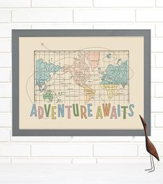 Colorful World Map ART PRINT World Map Divided Into Continents - 16x20 world map