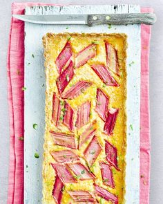 The magic combination of sweet custard and tart candy-pink rhubarb is a classic flavour match. The lime and ginger take it to new heights too Rhubarb And Custard, Custard Tart, Rhubarb Rhubarb, Rhubarb Recipes, Tart Recipes, Oranges And Lemons, Seasonal Food, Sweet Tarts, Delicious Magazine