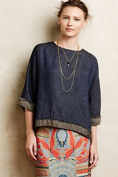 Fringed Indigo Top #anthropologie-is the hem cut on selvage and turned so reverse is showing? interesting